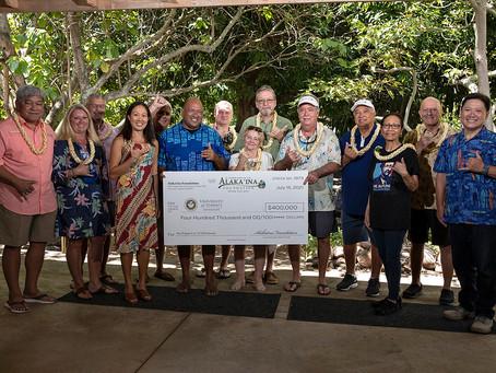 Papa Lo'i O Kane Wai, University of Hawaii Check Presentation for $400,000