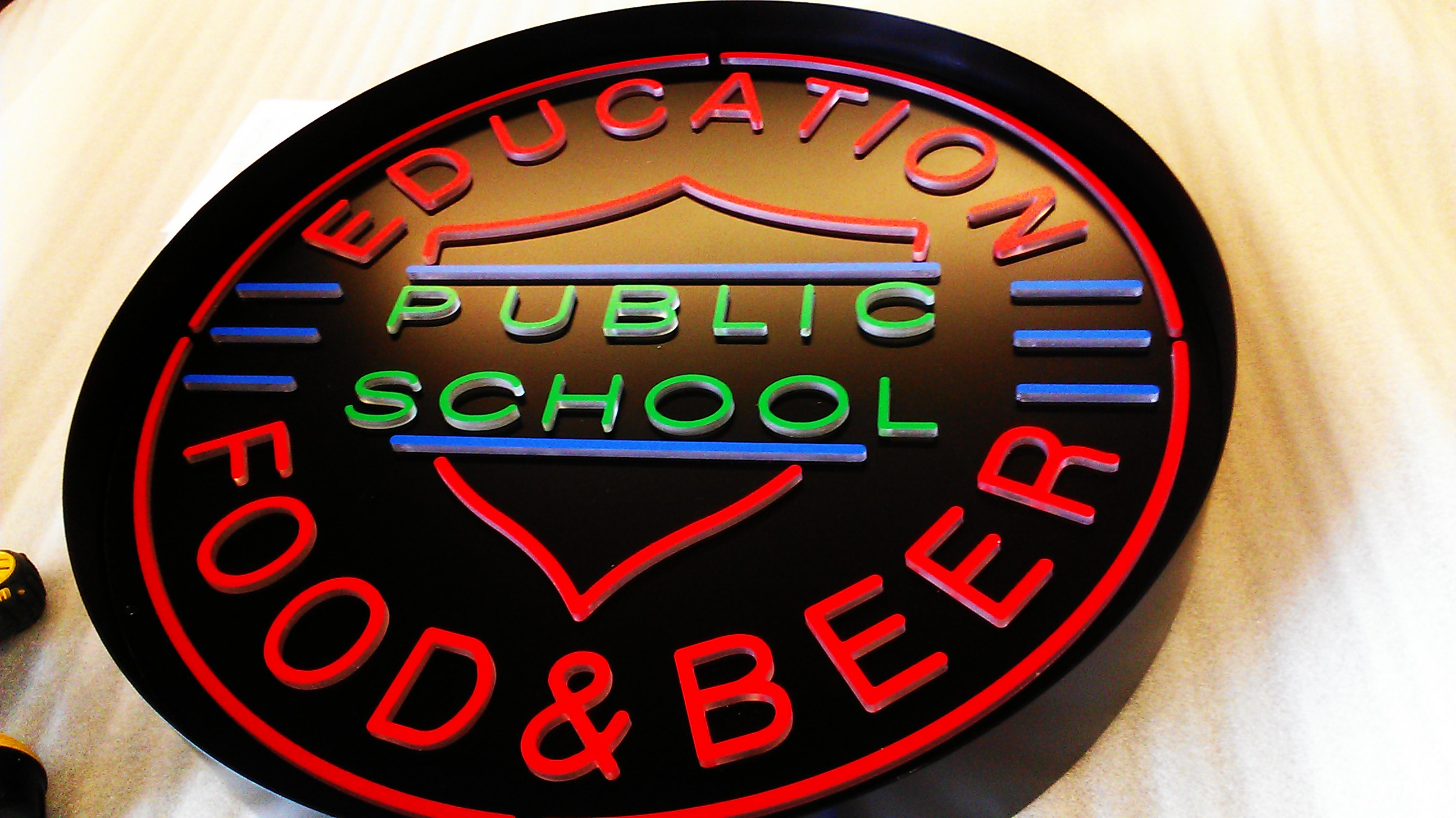 School & Beer Sign