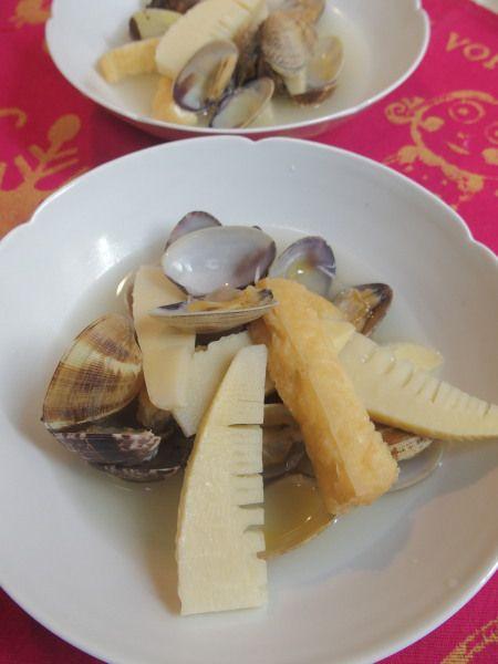水煮タケノコとアサリの煮物