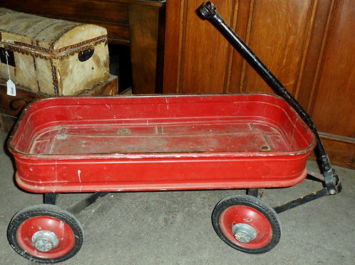Child's Red Steel Wagon