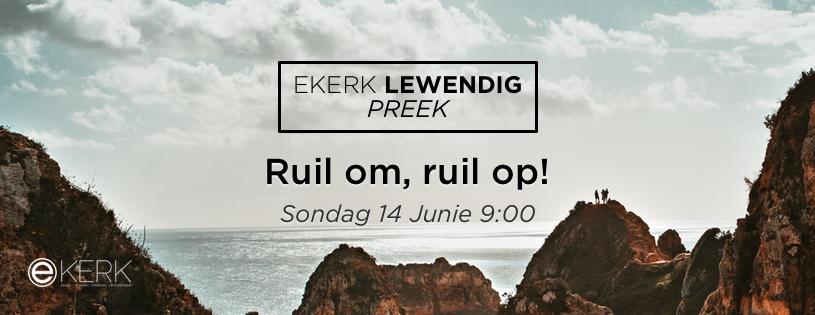 """Sondag oggend 14 Junie 2020 om 9:00 gesels Stephan Joubert met ons tydens ons Ekerk Lewendig Preek uitsending. Hy gesels oor """"Ruil om, ruil op!"""" Kom kuier saam. Almal is welkom!"""