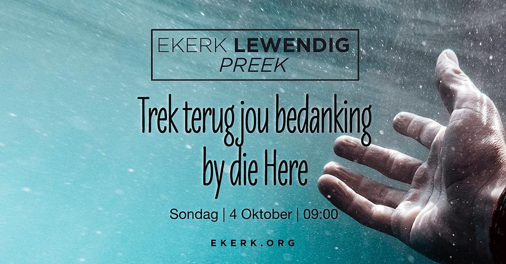 """Sondag oggend 4 Oktober behartig Stephan Joubert ons Ekerk Lewendig Preek uitsending. Sy tema vir die oggend is """"Trek terug jou bedanking by die Here."""" Sien ons jou daar?"""