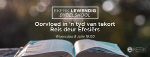 """Ons Bybelskool """"Oorvloed in 'n tyd van tekort"""" kom tot 'n einde eerskomende Woensdag aand waar prof Jan van der Watt ons reis gaan afsluit. Sien jou daar. Almal is welkom!"""