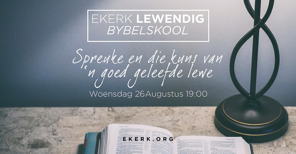 Woensdag 23 Augustus 2020 om 19:00 sluit Stephan Joubert ons Bybelskool reis af. Hoop ons sien jou daar!