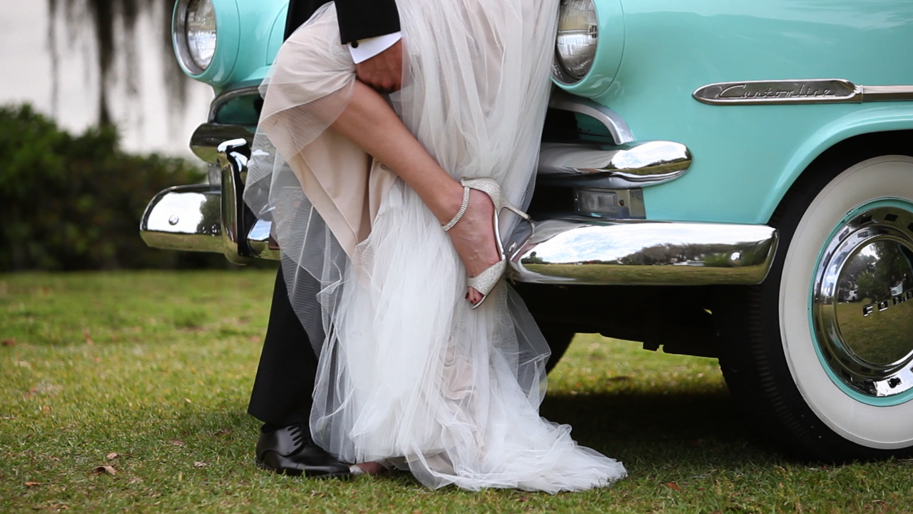 wedding bride dress shoes car