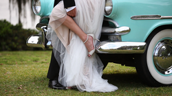 wedding bride dress shoes car
