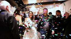 wedding bride groom confetti