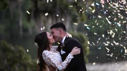 wedding couple confetti kiss