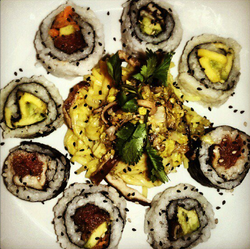 Coconut Curry Rice Noodles w/ Sushi