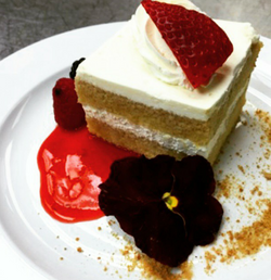 Vanilla Cake with a Berry Sauce