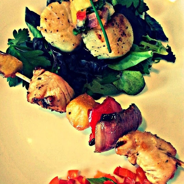 Chicken Skewers & Scallops