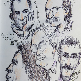 Sketchbook illustration of the New Yorker cartoonists and Cartoon Art Director, autographed