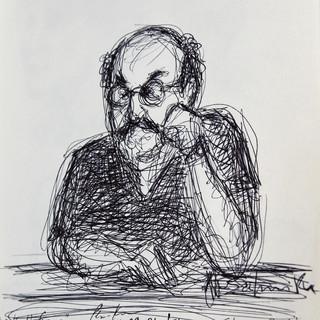 Autographed sketch of Salman Rushdie