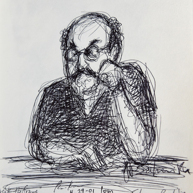 Autographed sketch of Salman Rushdie