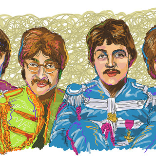 Beatles, drawn with a single line.