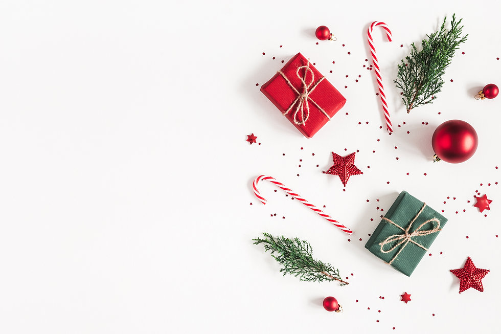 Christmas composition. Gifts, fir tree b