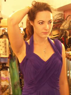 1950s New York Purple Chiffon Gown