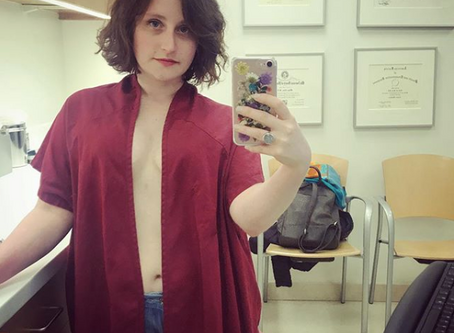 recovery fashion part 16: maroon medical gown/remembering the body/the countdown is on