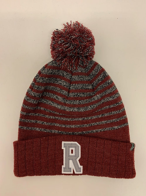 Royalton R striped knit pom pom hat