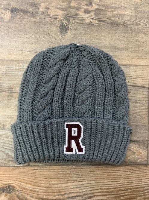 Royalton R thick cable knit cuffed hat