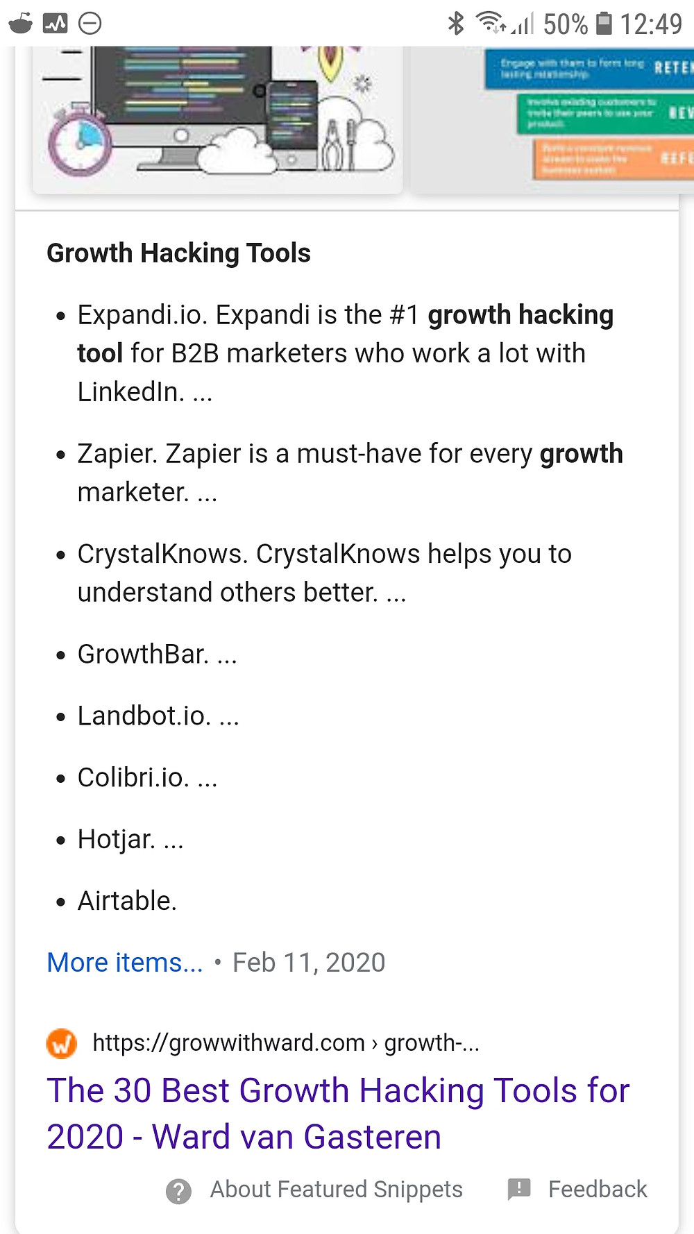 "Snippet of ""Growth Hacking Tools"""