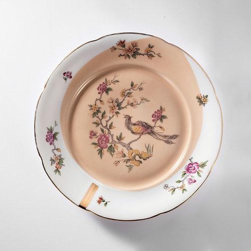 Grande assiette plate décor paon