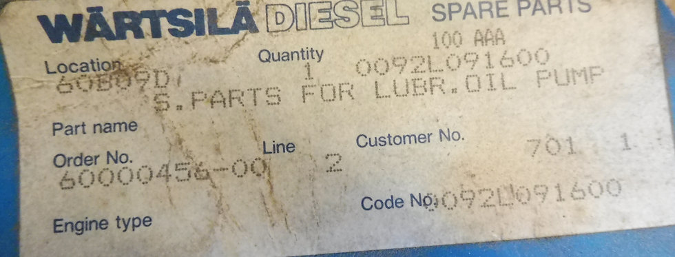 SPARE PARTS FOR  LUBRICATION  OIL PUMP 0092L091600
