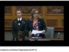 Davenport MPP Cristina Martins reads community's petition in Legislature aimed at Metrolinx's plan f