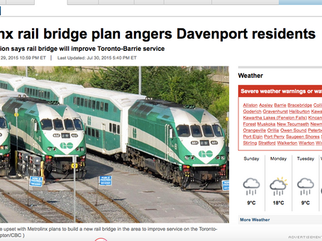 Metrolinx rail bridge plan angers Davenport residents