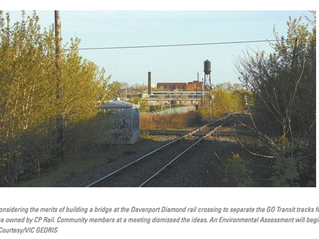 Residents reject Metrolinx's plans for rail bridge to replace Davenport Diamond
