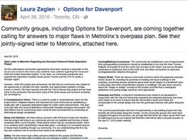 COMMUNITY LETTER: Open Letter to Metrolinx Regarding the Davenport Diamond Grade Separation Project