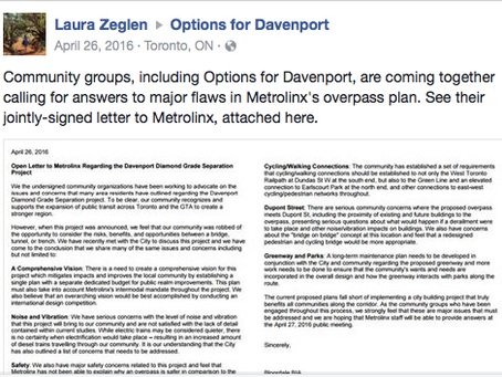 COMMUNITY LETTER: Open Letter to Metrolinx Regarding the Davenport Diamond Grade Separation Project