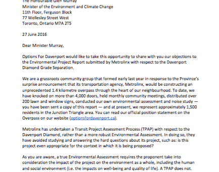 Options for Davenport Letter to Glen Murray, Minister of the Environment and Climate Change
