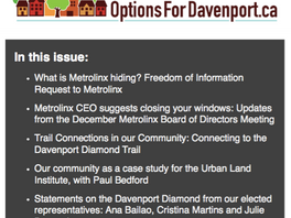 NEWSLETTER: January 2017 Update: What is Metrolinx hiding when it comes to the Davenport Diamond pro