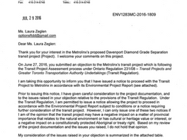 Glen Murray, Minster of the Environment and Climate Change, responds to Options for Davenport