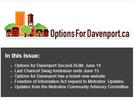 NEWSLETTER: June 2017 Update: Attend Our AGM, Last Chance For Davenport Swag, And More