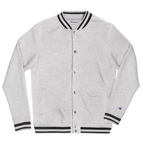 Embroidered Champion Bomber Jacket: White DS Logo
