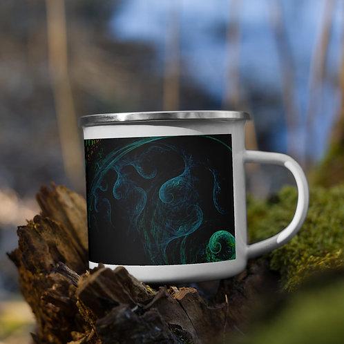 Enamel Mug: Blue Octopus Fractal