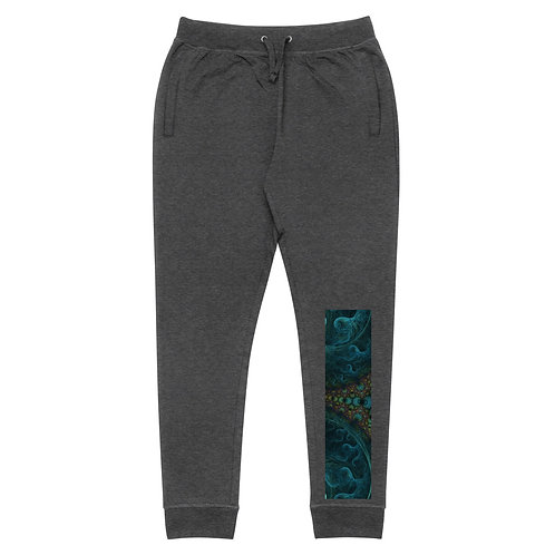 Unisex Skinny Joggers: Blue Octopus Fractal