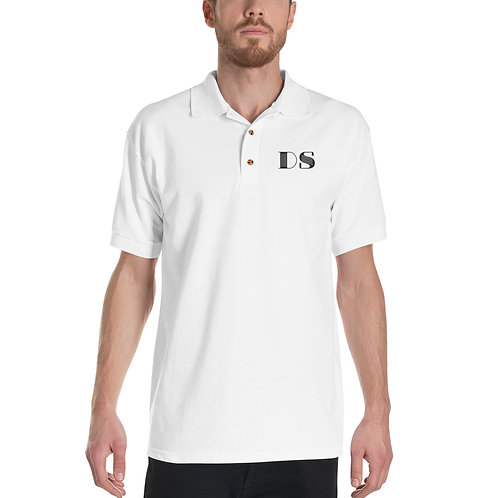 Embroidered Polo Shirt: Black DS Logo
