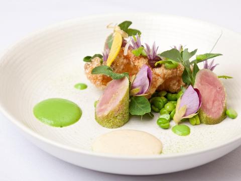 Ham hock, pea and mint salad