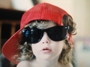 Image courtesy of the Sarah Blake archives. Circa 1987. child sunglasses red hat vintage raybans