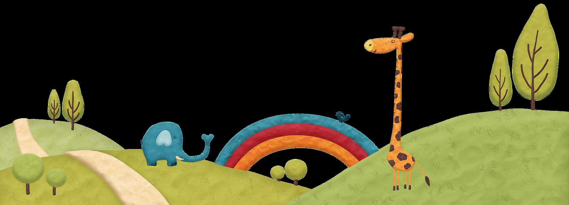 Детская иллюстрация - слон, жираф, радуга
