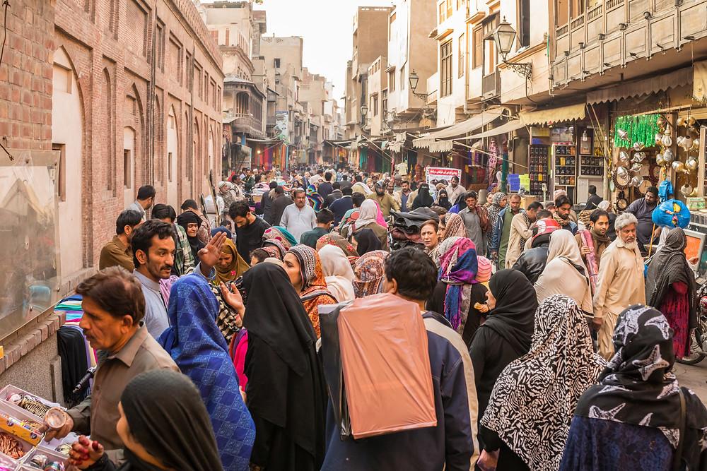 Busy street in walled city, pakistan