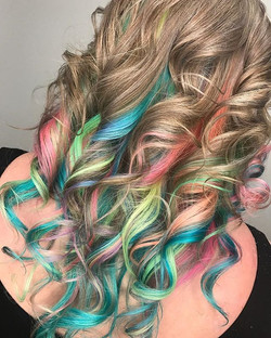 Party hair for the Birthday girl!!! Loving all these colors together.jpg