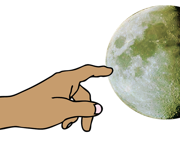 fingers pointing at the moon