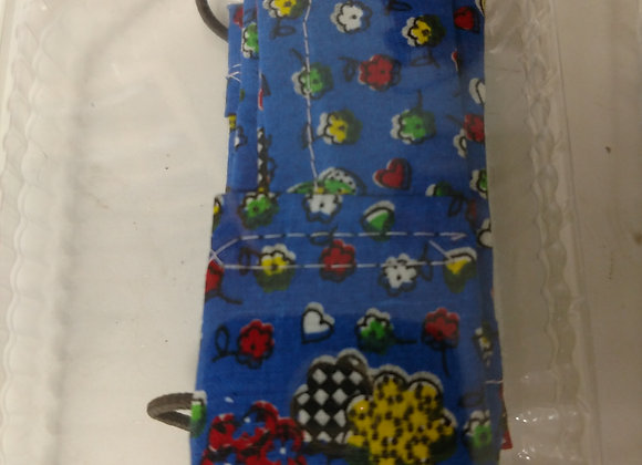 Cotton Mask - Flowers Blue -Style One