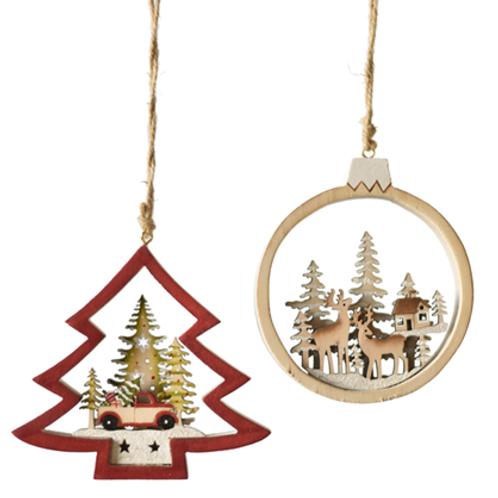 Laser-cut Truck or Deer Scene Ornament
