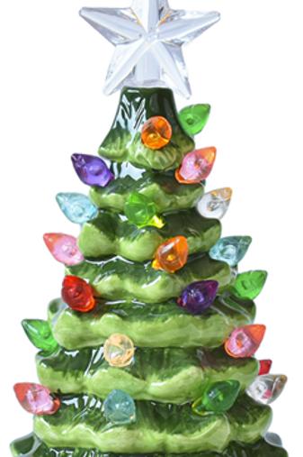 LED Light Up Green Tree Mini Shimmer