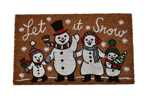 "Let It Snow"" Snowman Family Doormat"